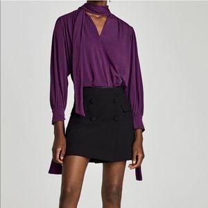 Zara black button skirt
